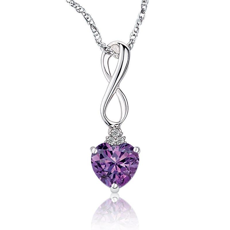 Amethyst Heart & Diamond Pendant in Sterling Silver
