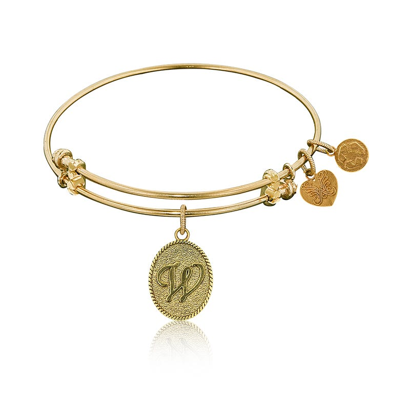 Initial W Charm Bangle Bracelet in Yellow Brass