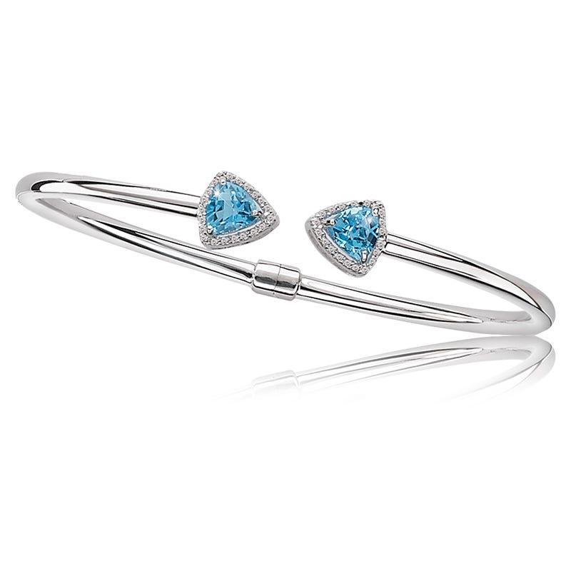 Blue Topaz Triangle & Diamond Wrap Bangle