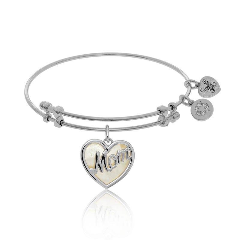 Mother of Pearl Mom Charm Bangle Bracelet in White Brass