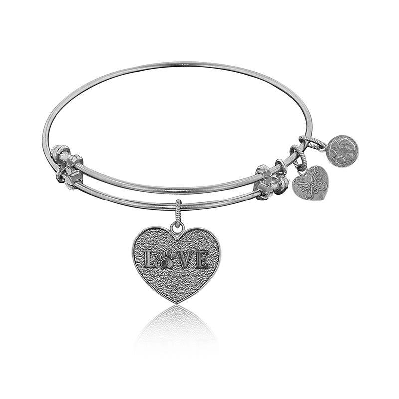 Love Paw Print Charm Bangle Bracelet in White Brass