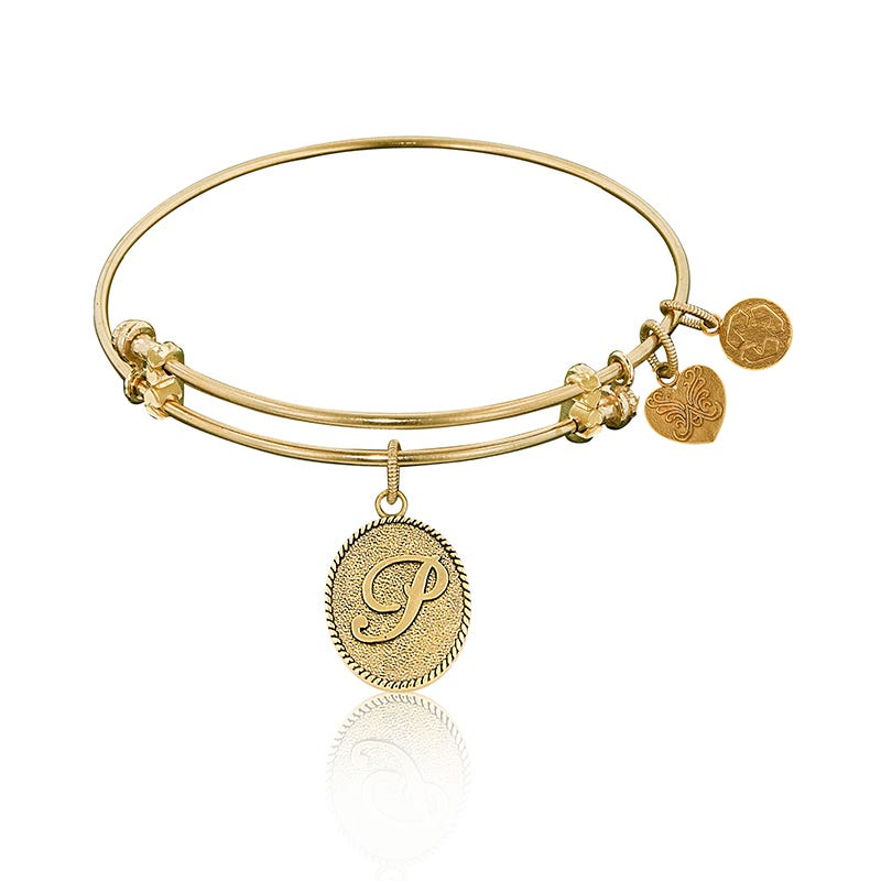 Initinal P Charm Bangle Bracelet in Yellow Brass