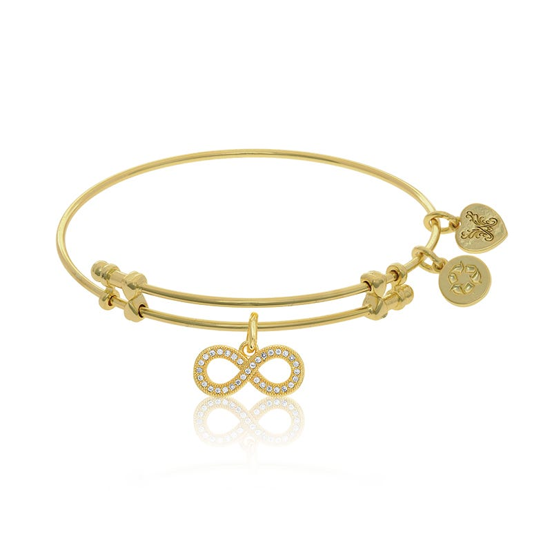 Cubic Zirconia Infinity Charm Bangle Bracelet in Yellow Brass