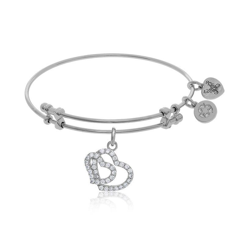 Double Heart Crystal Charm Bangle Bracelet in White Brass