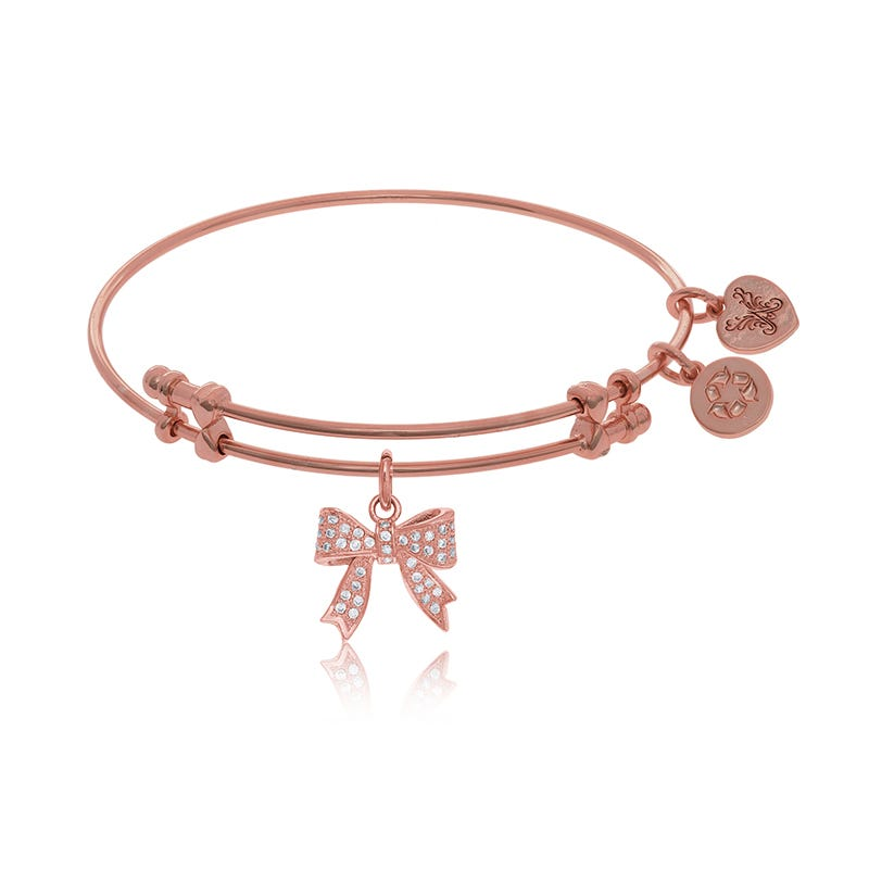Cubic Zirconia Bow Charm Bangle Bracelet in Pink Brass