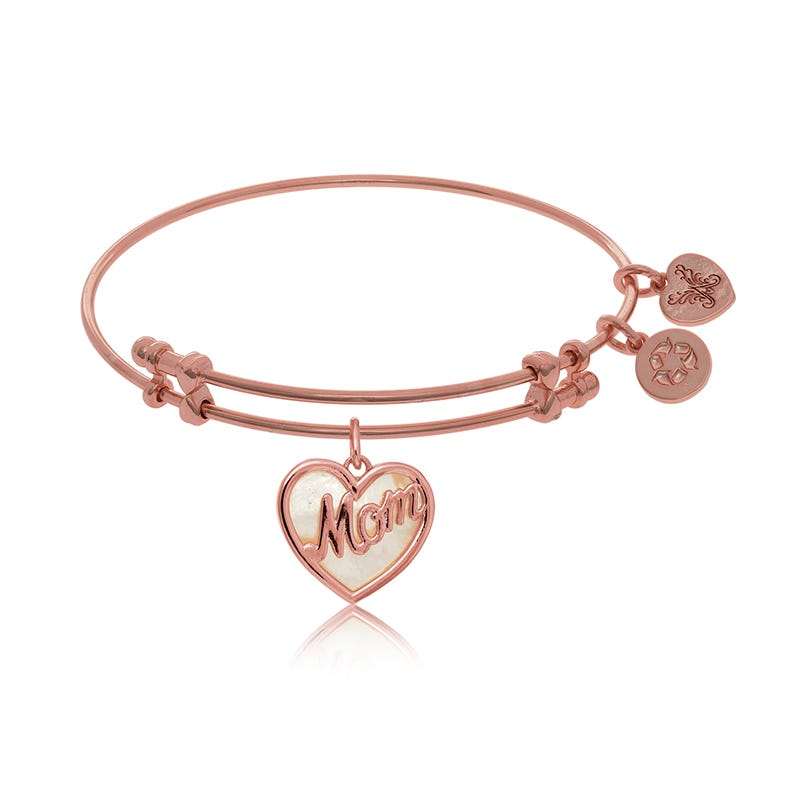 Mother of Pearl Mom Heart Charm Bangle Bracelet in Pink Brass