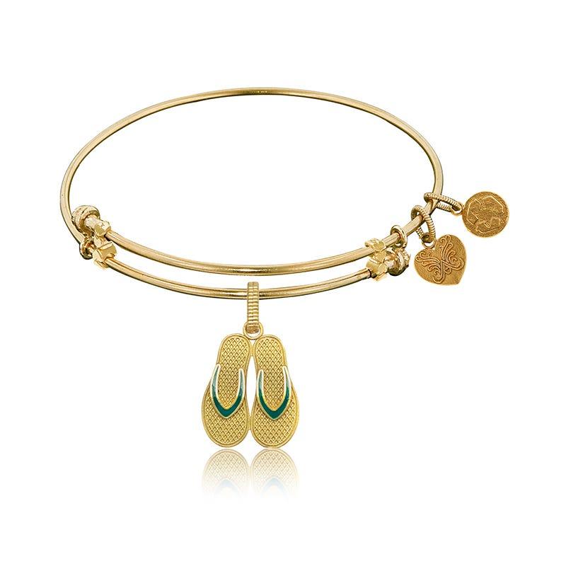 Enameld Flip Flop Charm Bangle Bracelet in Yellow Brass