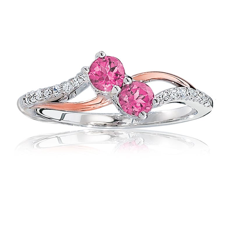 You & Me Two-Stone Pink & Diamond Ring in 10k Rose & White Gold