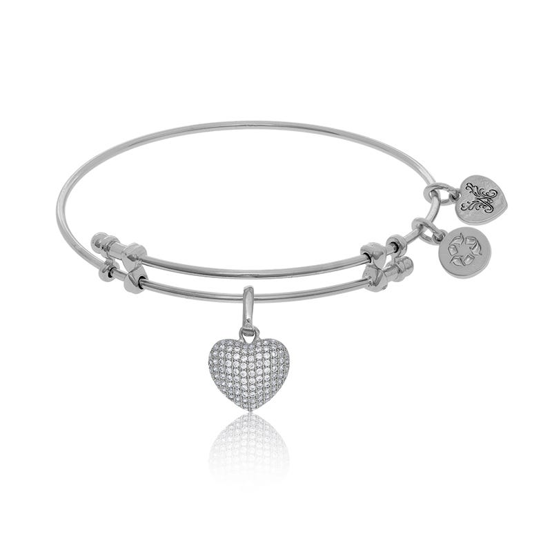 Cubic Zirconia Heart Charm Bangle Bracelet in White Brass