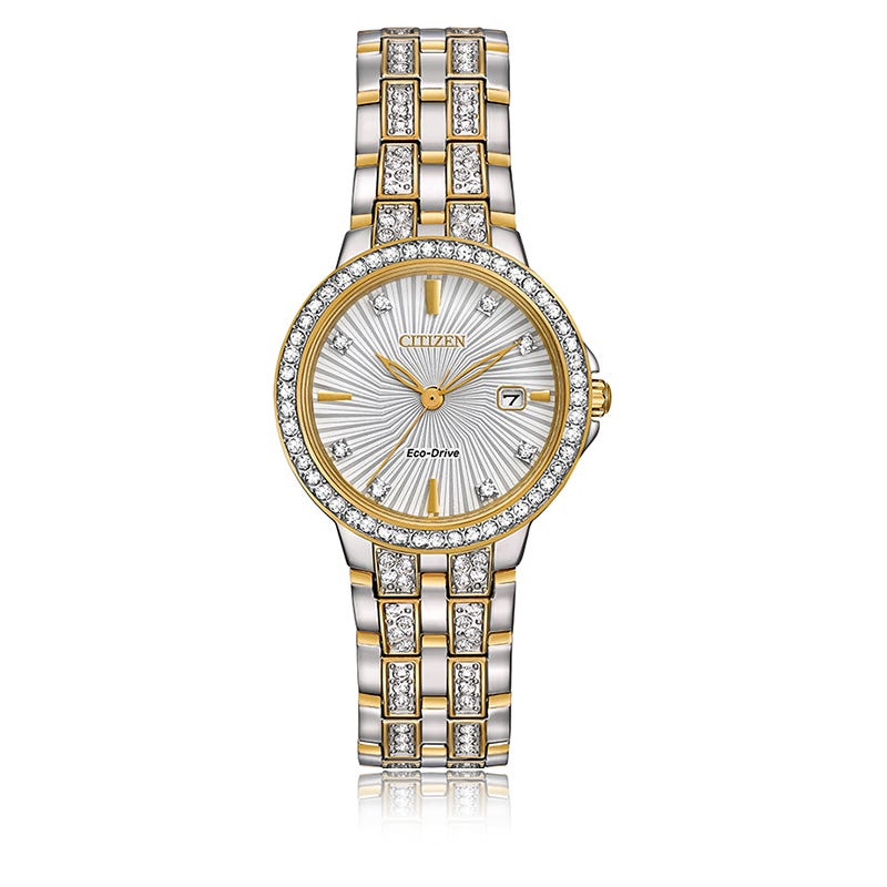 Citizen® Ladies Eco-Drive Crystal Accent Two-Tone Stainless Steel Bracelet Watch 28mm EW2344-57A