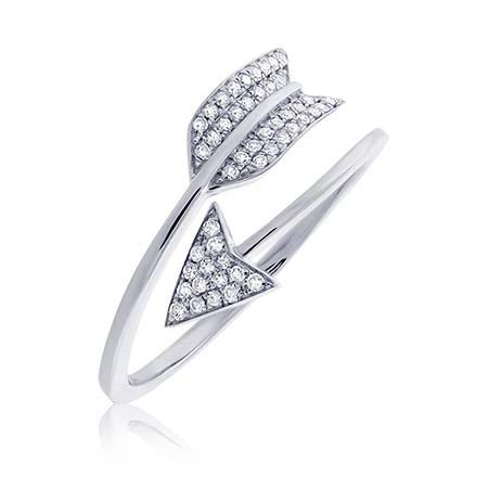 Shy Creation: Diamond Cupid's Arrow Wrap Ring 14k White Gold
