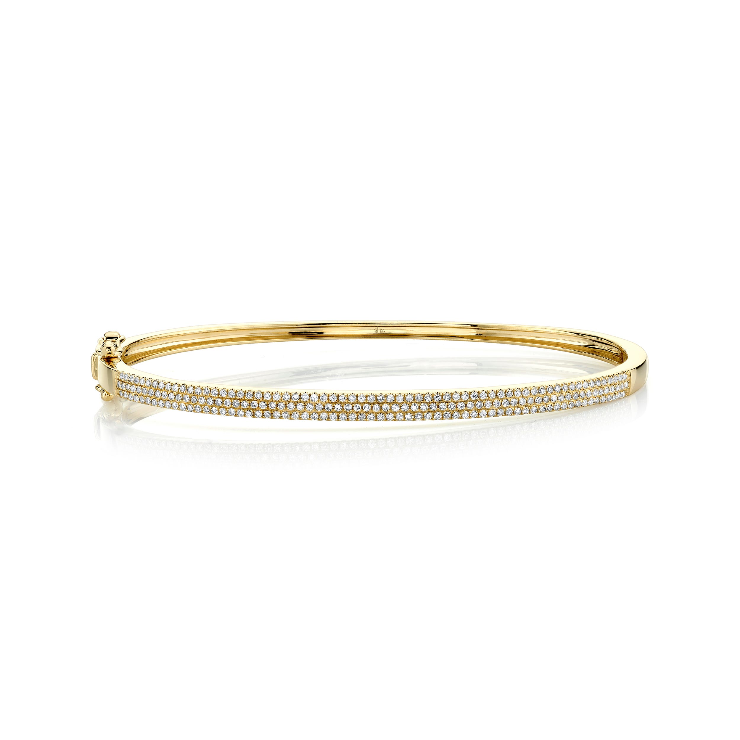 Shy Creation Diamond ½ct. Pave Bangle Bracelet 14k Yellow Gold SC55002256ZS