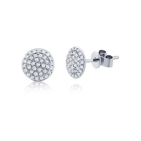 Shy Creation Diamond Circle Cluster Stud Earrings in 14k White Gold