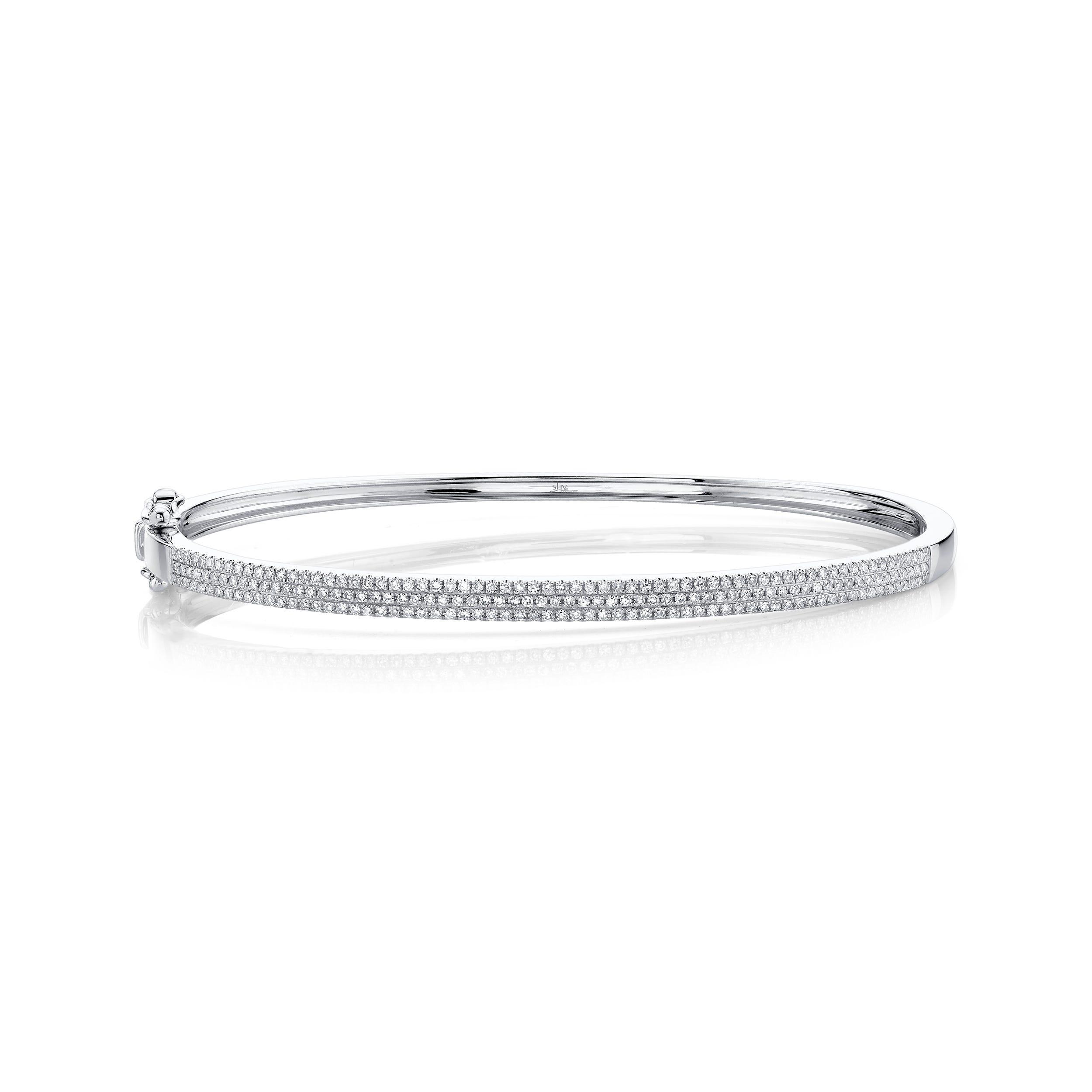 Shy Creation: Diamond ½ct. Pave Bangle Bracelet 14k White Gold