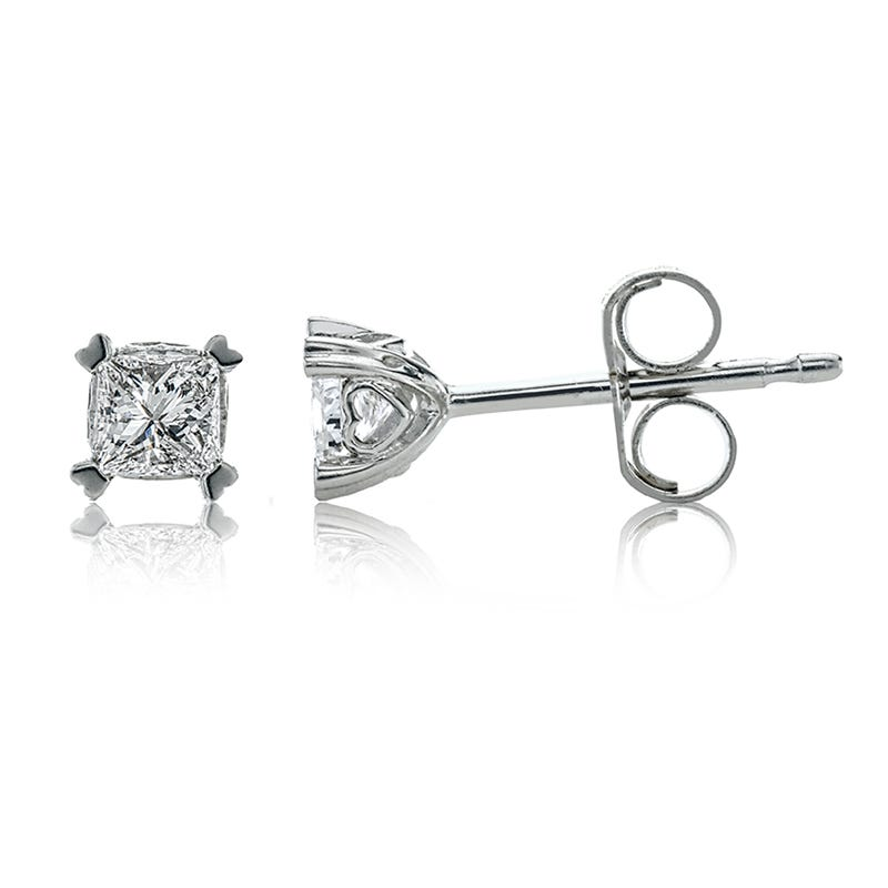 Diamond ¼ctw. Princess-Cut Solitaire Earrings in 14k White Gold