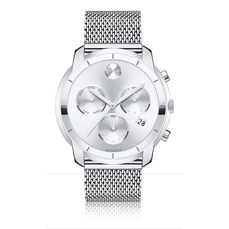 Movado BOLD Large Chrono Stainless Steel Mesh Bracelet Watch 3600371