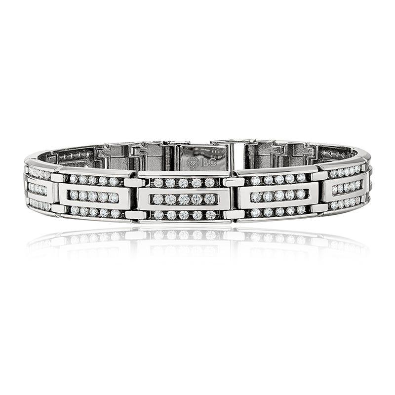 Men's 4ct. tw. Diamond Link Bracelet in 10k White Gold