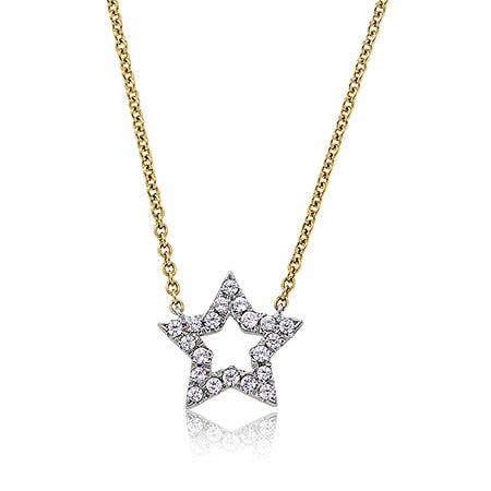 Diamond Open-Star Pendant in 14k Yellow Gold
