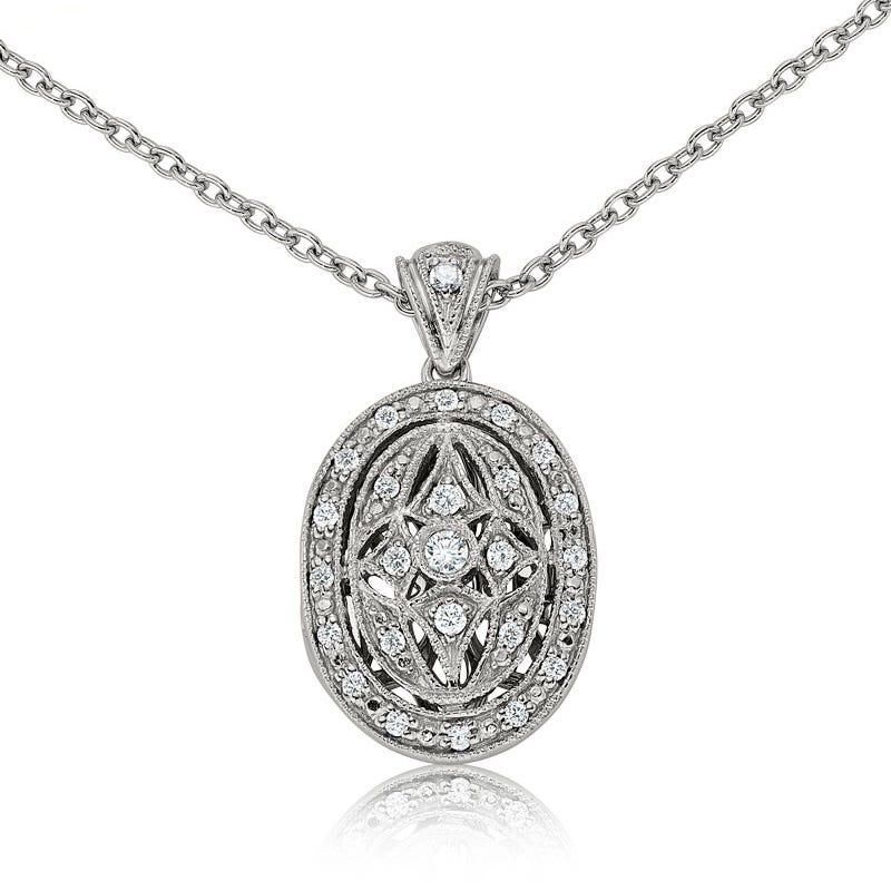 Diamond Oval Locket Pendant in Sterling Silver ¼ct. tw.