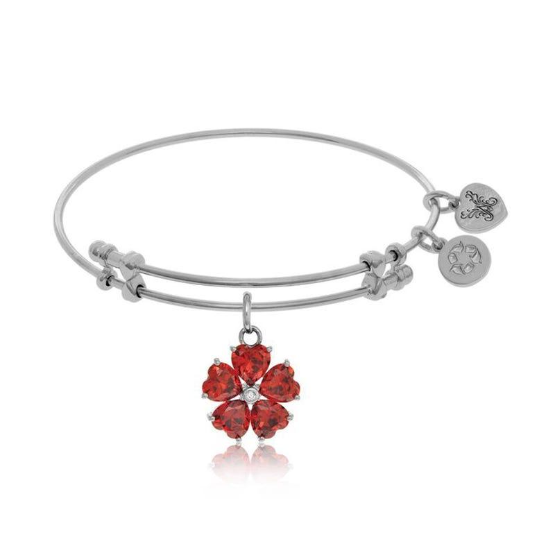 Red Hearts Flower Charm Bangle Bracelet in White Brass
