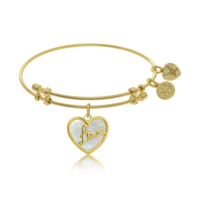 Love Mother-of-Pearl Heart Charm Bangle Bracelet in Yellow Brass