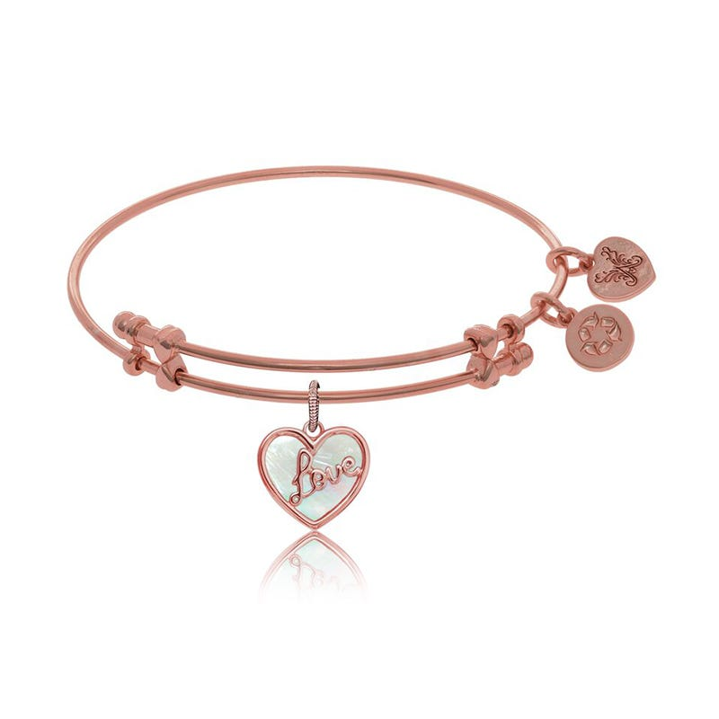 Love Mother-of-Pearl Heart Charm Bangle Bracelet in Pink Brass