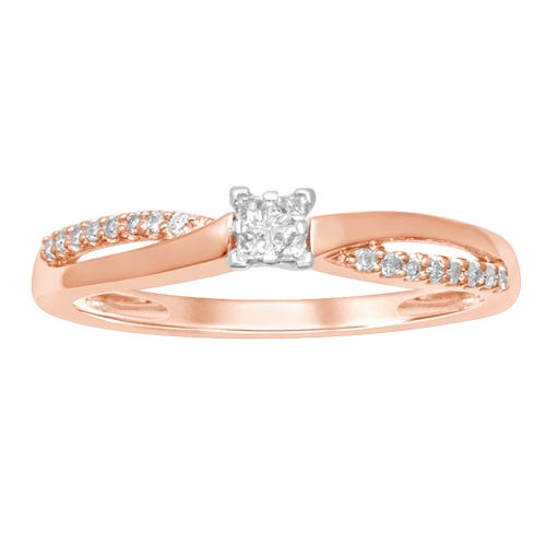 Princess-Cut Solitaire Promise Ring in 10k Rose Gold Plate