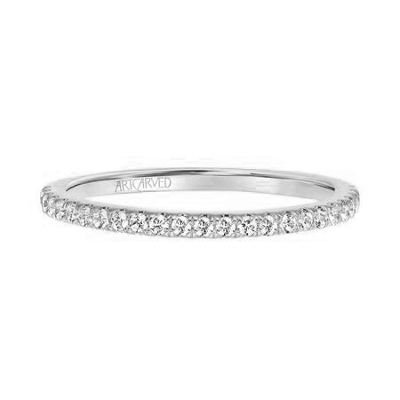Sybil. ArtCarved Diamond Wedding Band in 14k White Gold