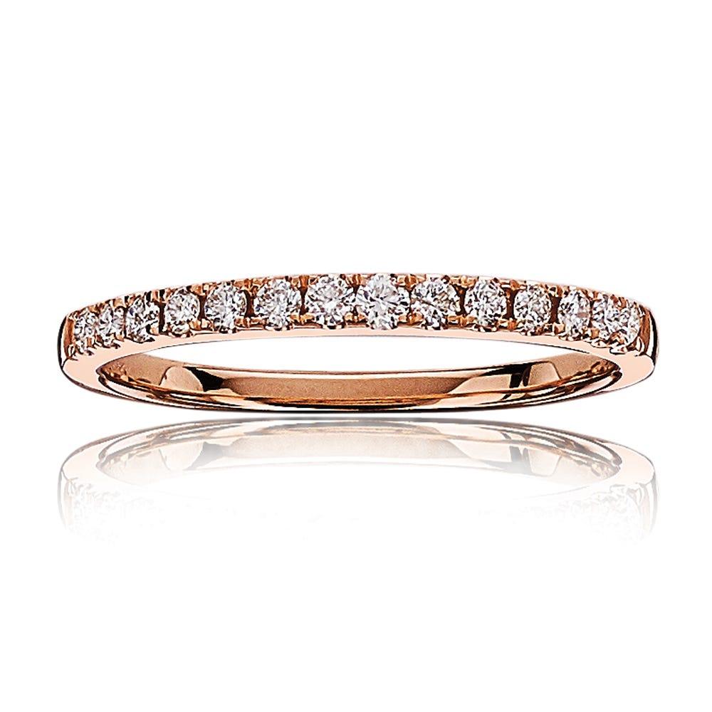 Diamond 1/4ctw. Ladies Pave Wedding Band in 14k Rose Gold