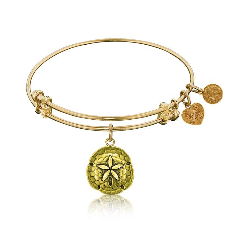 Sand Dollar Charm Bangle Bracelet in Yellow Brass