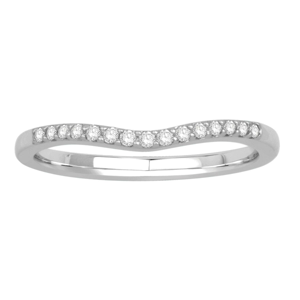Round Diamond Contour Band in 14k White Gold