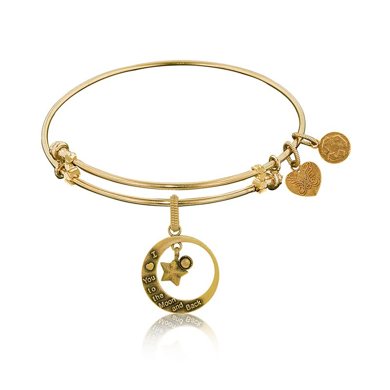 To the Moon and Back Charm Bangle Bracelet in Yellow Brass