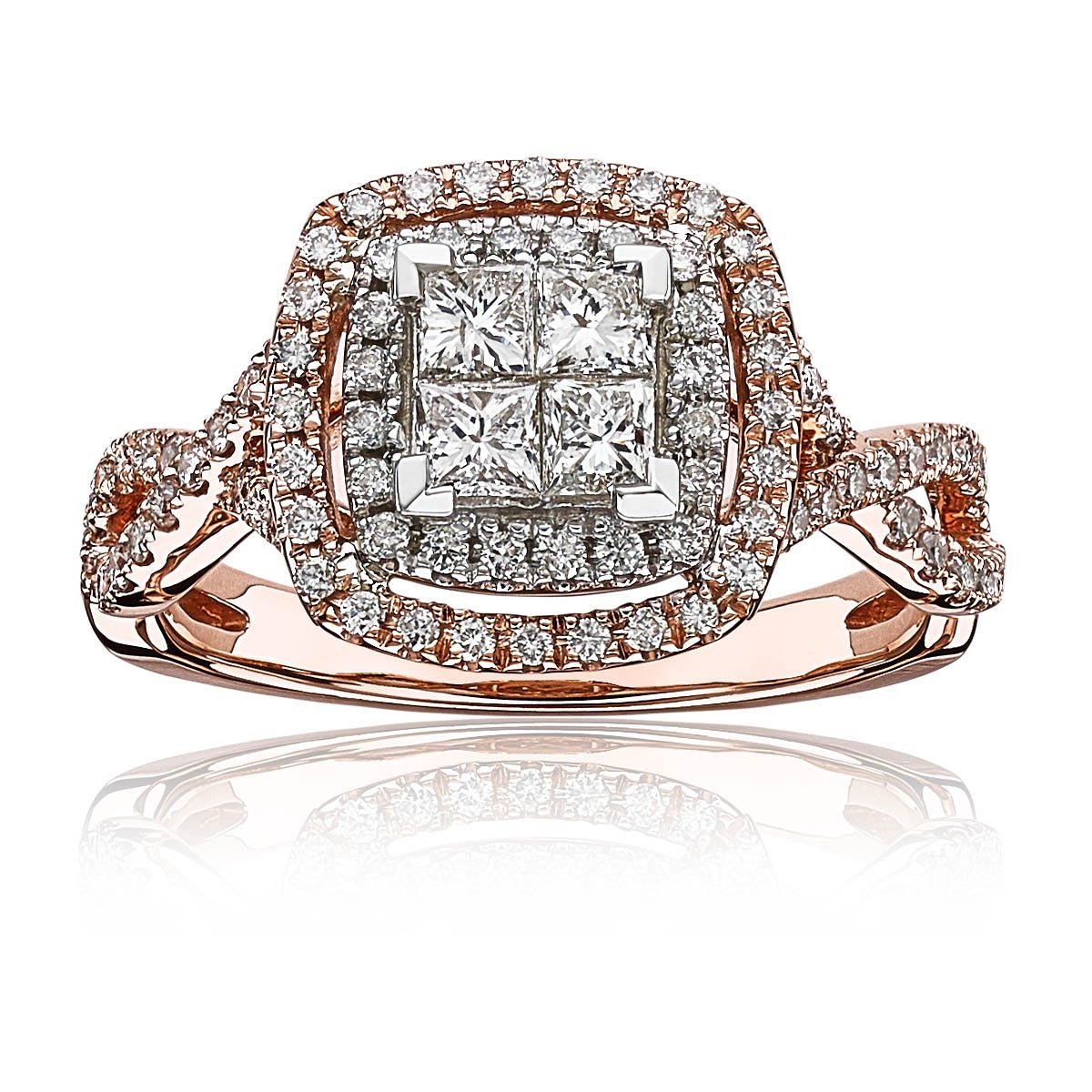 Aria. Diamond Quad Twist Princess-Cut Double Halo Engagement Ring in 14k Gold