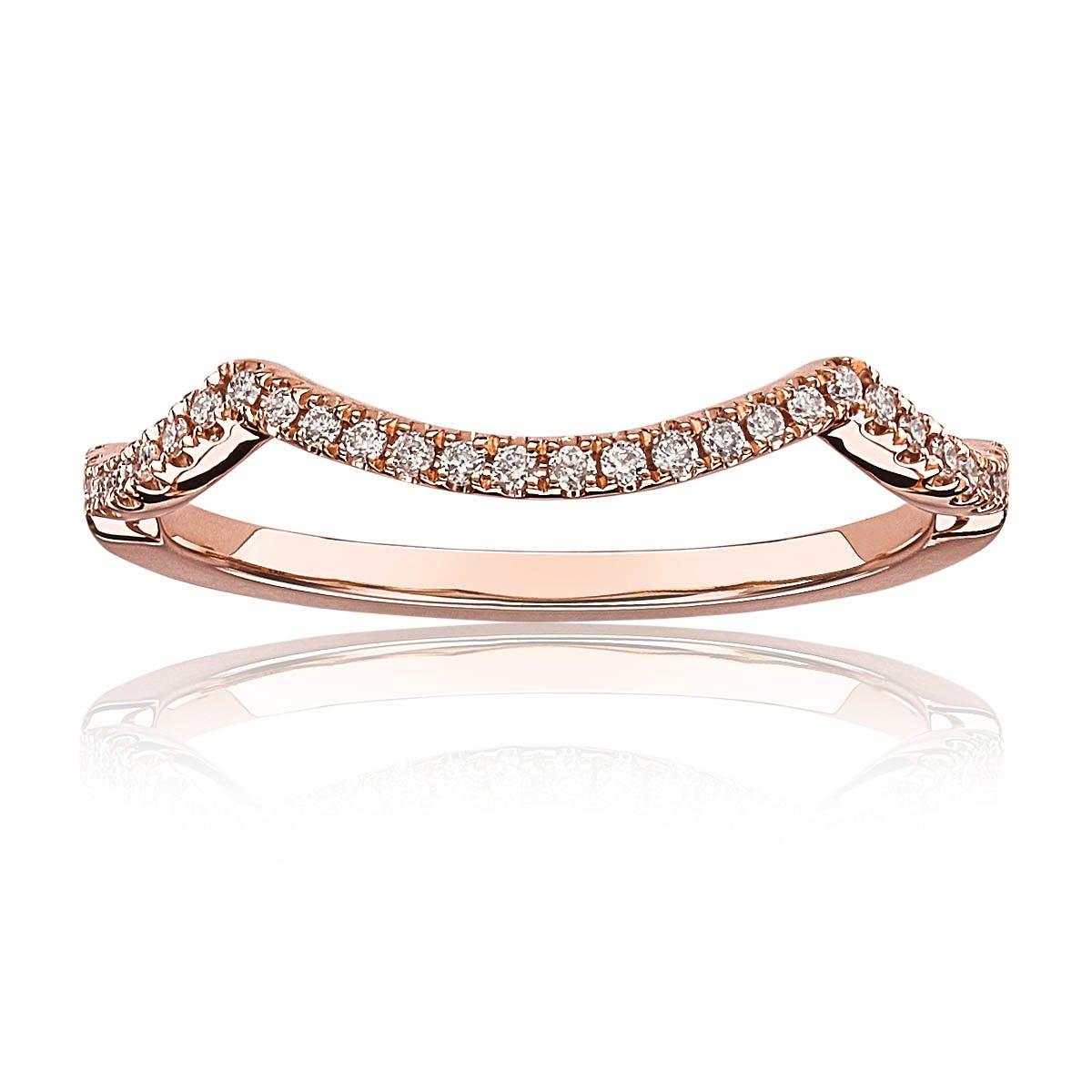 Aria. Matching Diamond Wedding Band in 14k Rose Gold