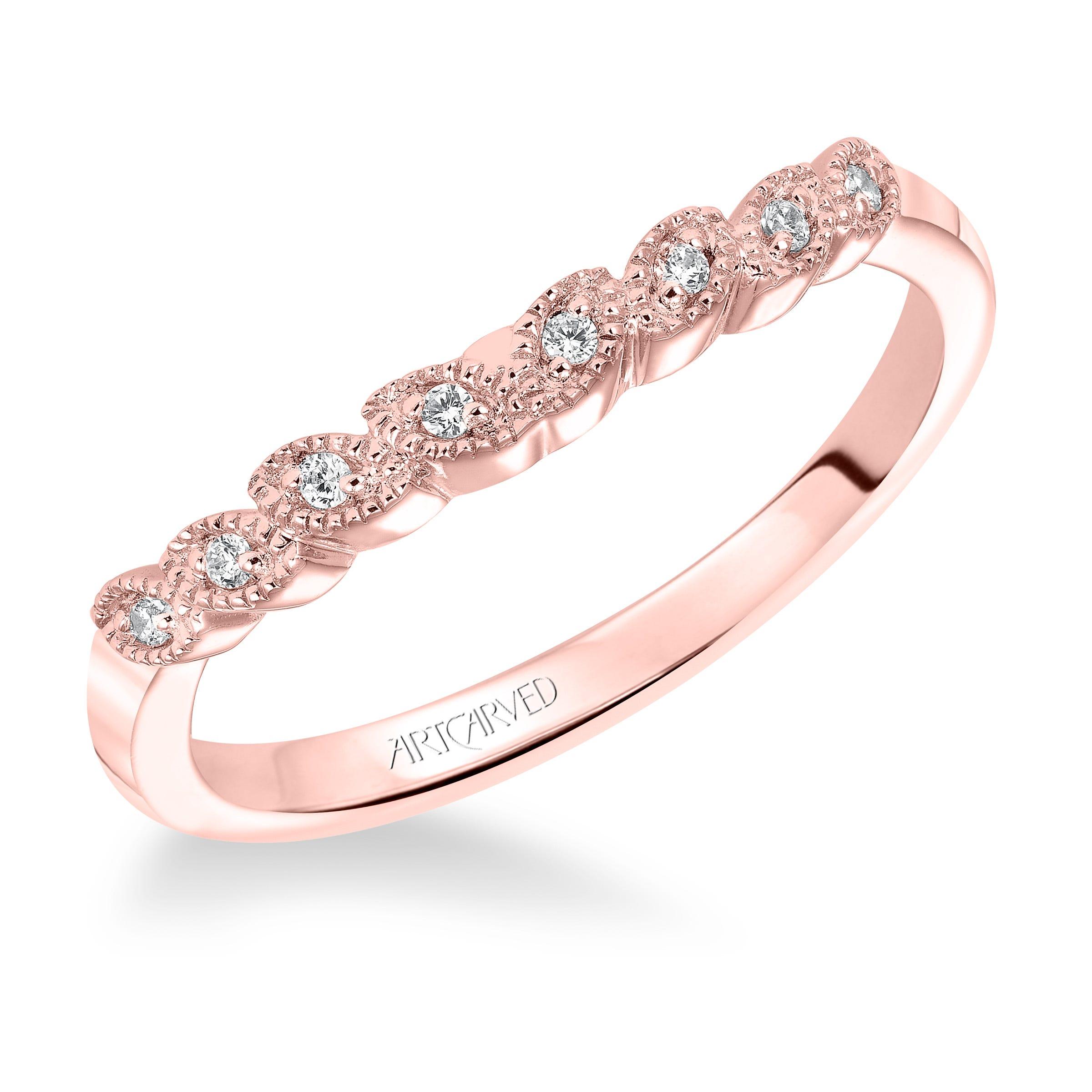 Adeline. ArtCarved® Diamond Wedding Band in 14k Rose Gold