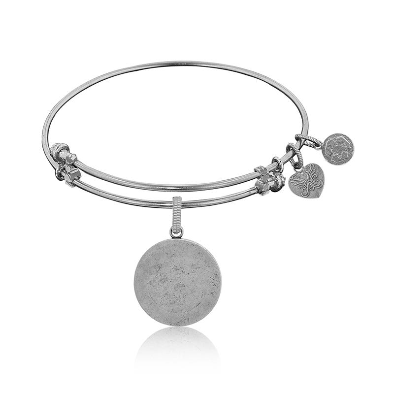 Engravable Circle Charm Bangle Bracelet in White Brass