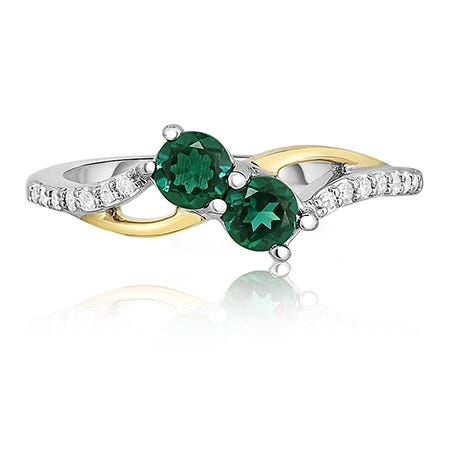 You & Me Two-Stone Emerald & Diamond Ring in 10k Gold