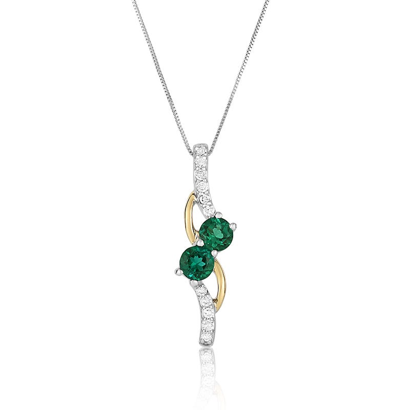 Two-Stone Emerald & Diamond Pendant in 10k Two-Tone Gold
