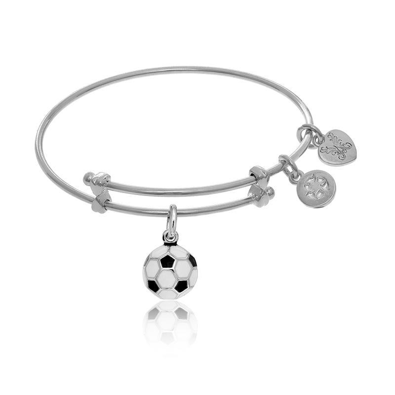 Soccer Ball Tween Charm Bangle Bracelet in White Brass