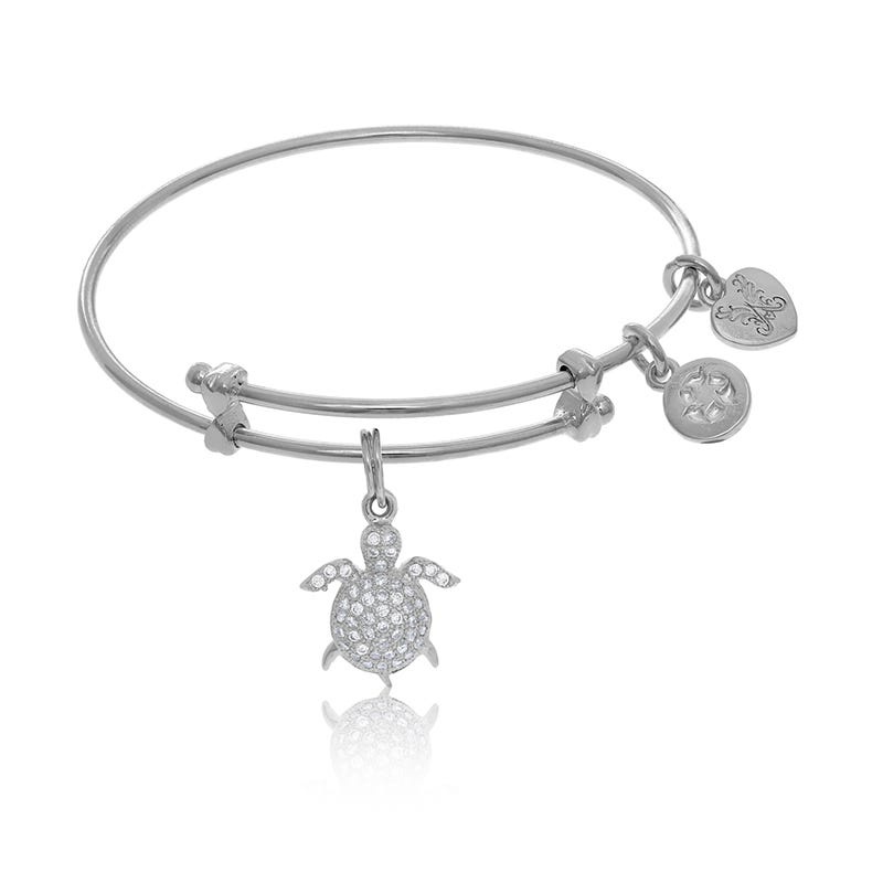 Turtle Crystal Tween Charm Bangle Bracelet in White Brass