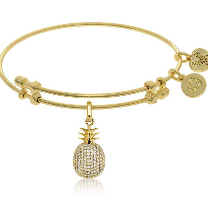 Pineapple Crystal Charm Bangle Bracelet in Yellow Brass