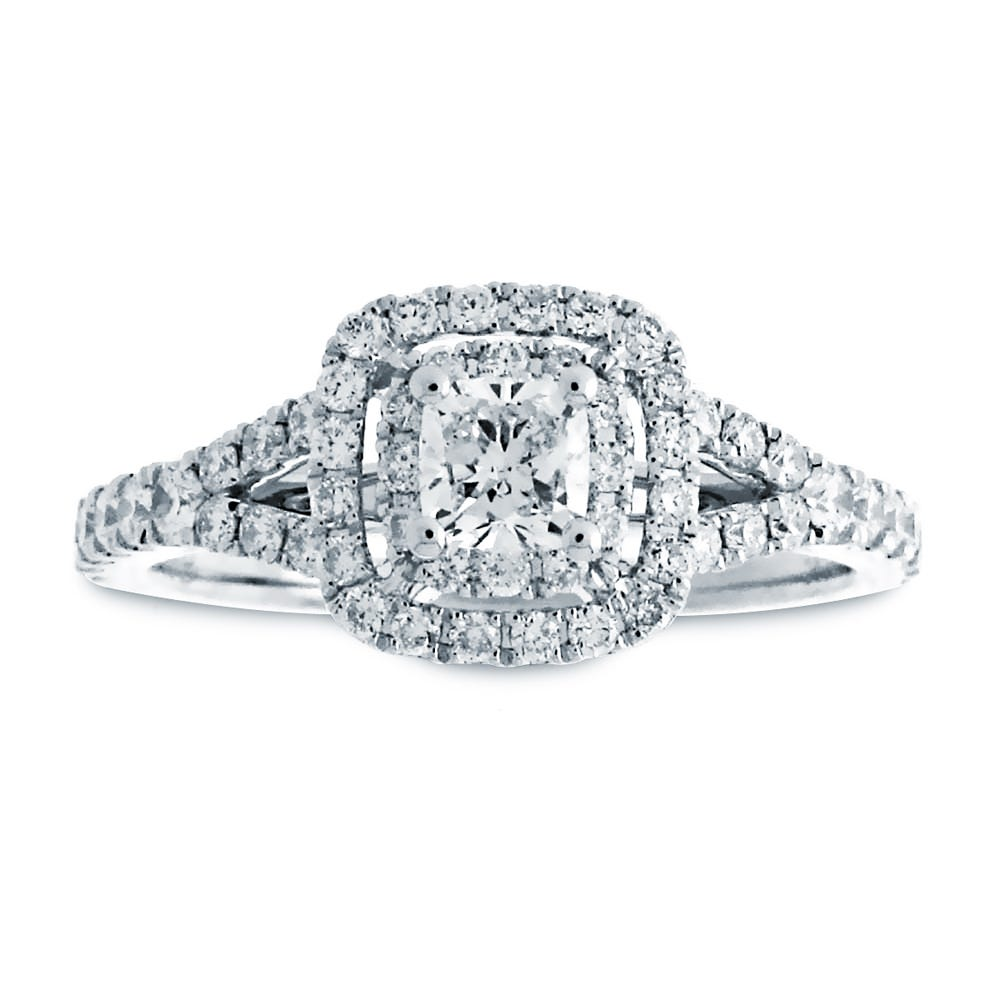 Celine Cushion Cut Diamond Double Halo Engagement Ring In 14k White Gold