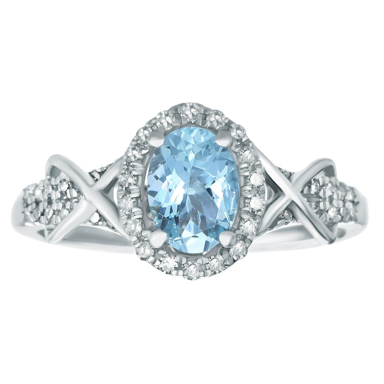 Oval Aquamarine Gemstone & Diamond Halo Ring in 10k White Gold