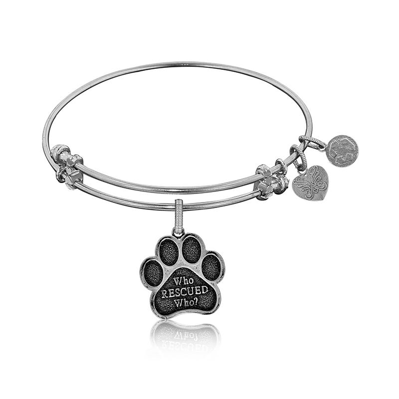 Who Rescued Who Paw Charm Bangle Bracelet in White Brass