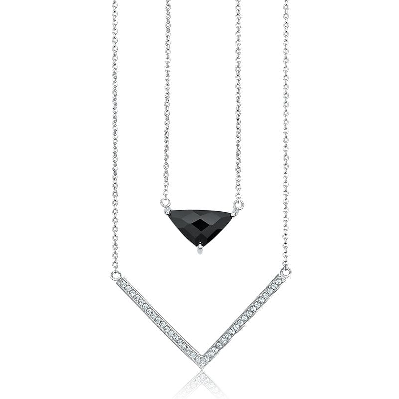 Double Strand Diamond & Onyx Necklace in Sterling Silver