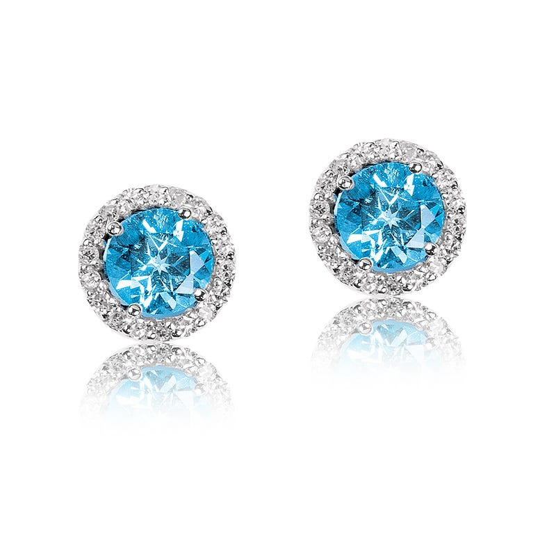 Blue Topaz & Diamond Halo Stud Earrings in White Gold