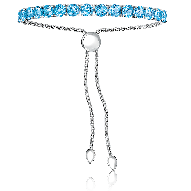 Blue Topaz Bolo Bracelet in Sterling Silver