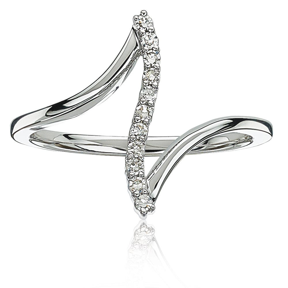 Diamond .10ctw Vertical Fashion Ring in 10k White Gold