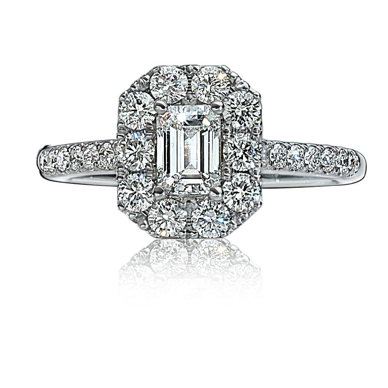 Isabella. Emerald-Cut Diamond Pavé Engagement Ring in 14k Gold