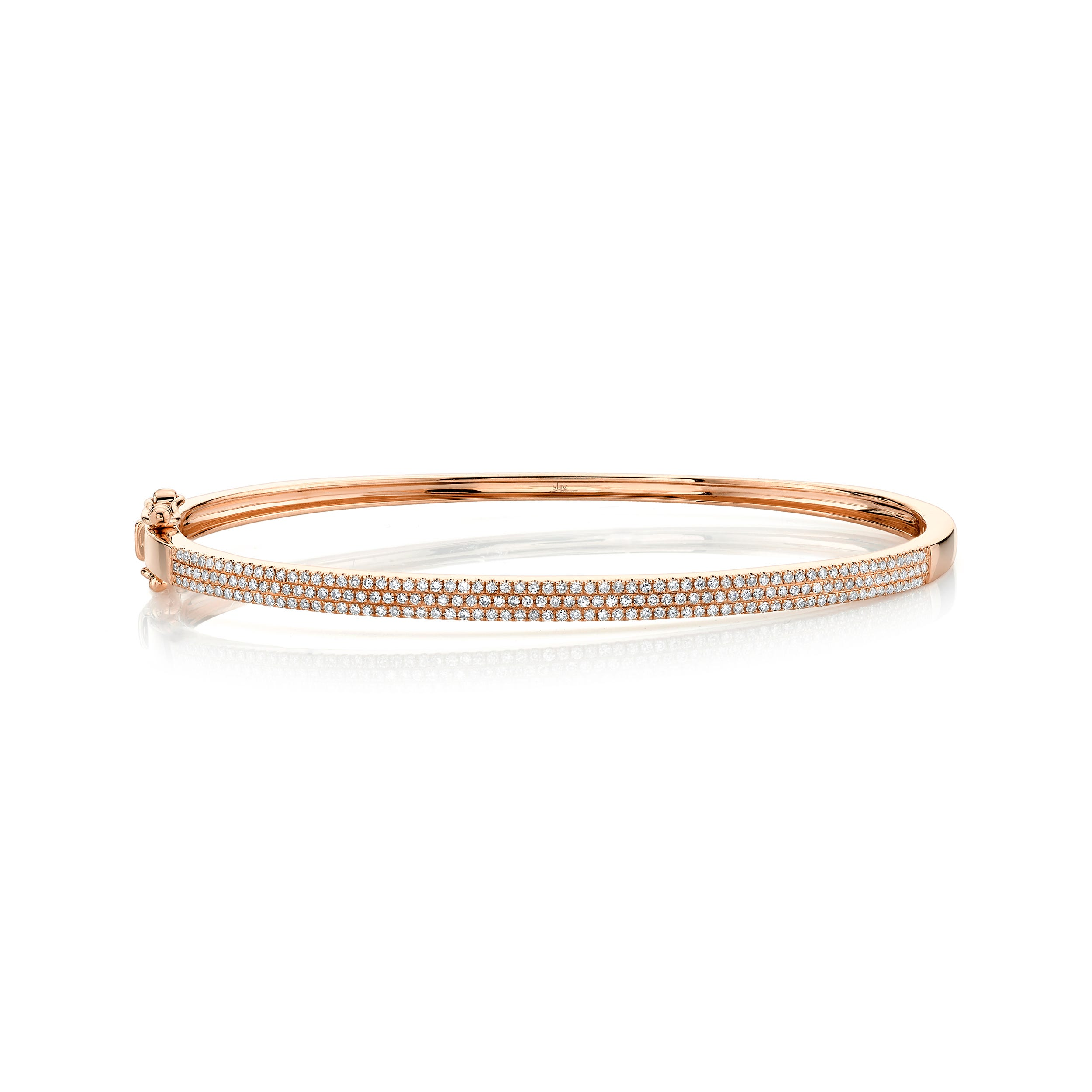 Shy Creation  Pave Diamond ½ctw. Bangle Bracelet in 14k Rose Gold SC55002257ZS